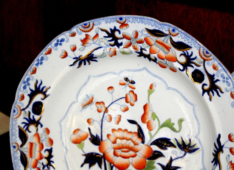 Hand-Painted Pair of Antique English Ironstone Imari Cabinet Plates, Hicks, Meigh and Johnson For Sale