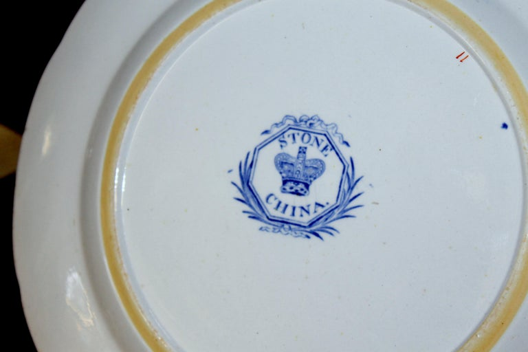19th Century Pair of Antique English Ironstone Imari Cabinet Plates, Hicks, Meigh and Johnson For Sale