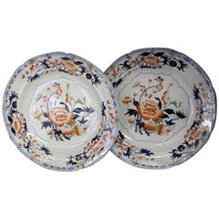 Pair of Antique English Ironstone Imari Cabinet Plates, Hicks, Meigh and Johnson