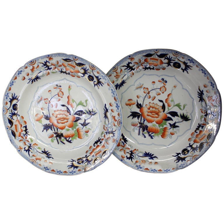 Pair of Antique English Ironstone Imari Cabinet Plates, Hicks, Meigh and Johnson For Sale