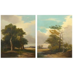 Pair of Antique English Landscape Paintings circa 1843 by G.A. Turner