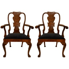 Pair of Antique English Late 19th Century Queen Anne Burled Walnut Armchairs