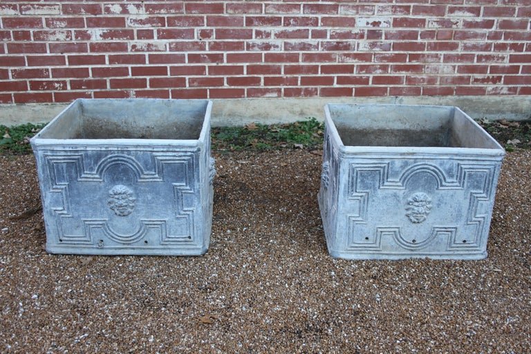 Pair of Antique English Lead Lion Head Planters For Sale 5