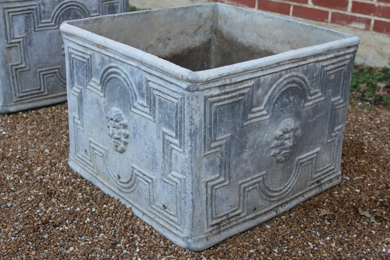 Pair of Antique English Lead Lion Head Planters For Sale 6
