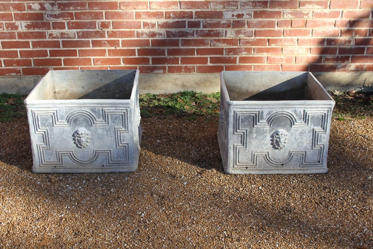 Pair of Antique English Lead Lion Head Planters For Sale 8