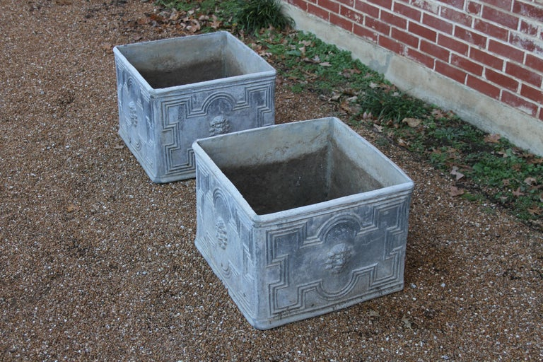 Pair of Antique English Lead Lion Head Planters For Sale 10