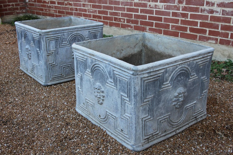 Neoclassical Pair of Antique English Lead Lion Head Planters For Sale