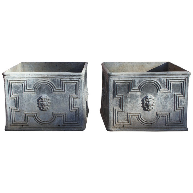 Pair of Antique English Lead Lion Head Planters For Sale