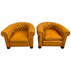Pair of Antique English Leather Tufted Chesterfield Club Chairs