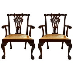 Pair of Antique English Mahogany 19th Century Armchairs
