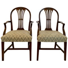 Pair of Antique English Mahogany Armchairs, circa 1880-1890