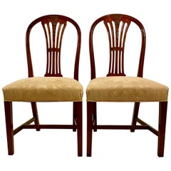 Pair of Antique English Mahogany Late 19th Century Side Chairs
