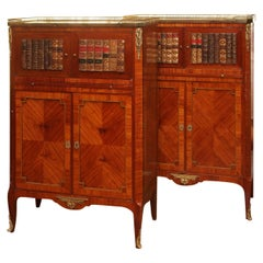 Pair of Antique English Mahogany Marble-Top Library Bookcases, circa 1880