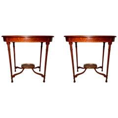 Pair of Antique English Mahogany Occasional Tables, circa 1880