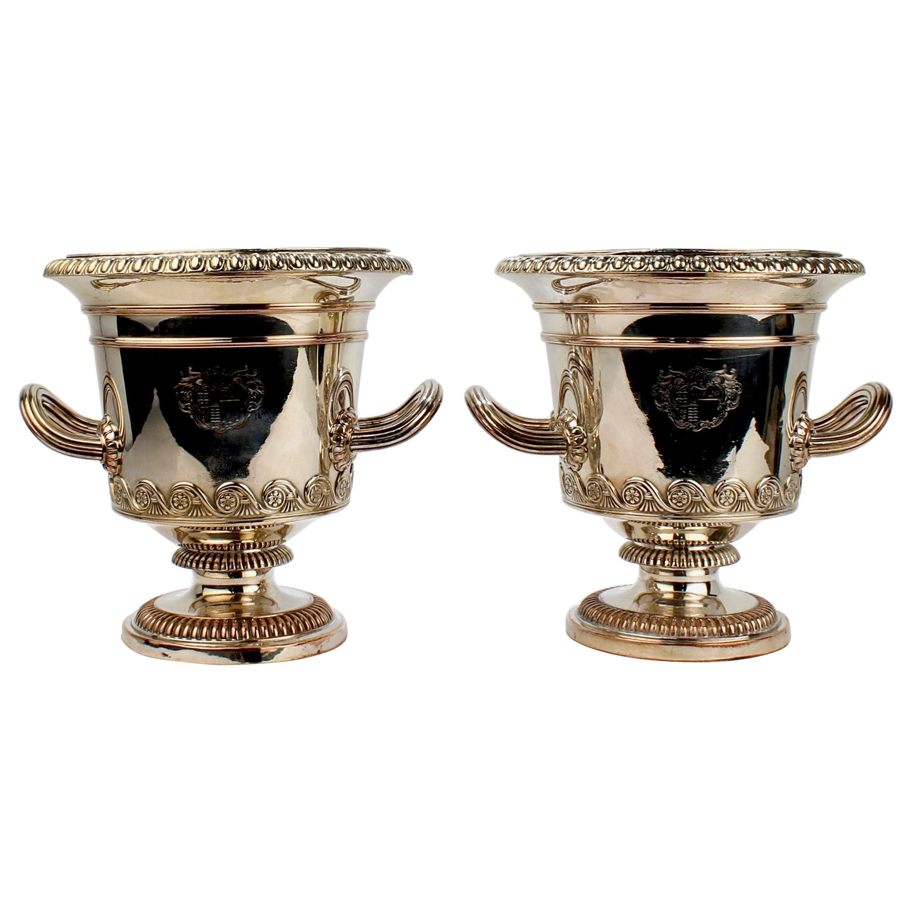 Pair of Antique English Neoclassical Sheffield Plate Wine or Champagne Coolers