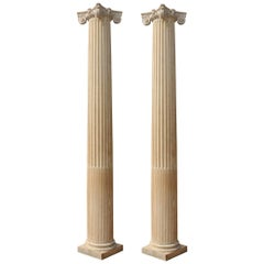 Pair of Antique English Oak Columns