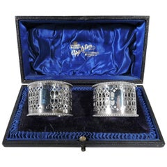 Pair of Antique English Pierced Sterling Silver Napkin Rings in Leather Box