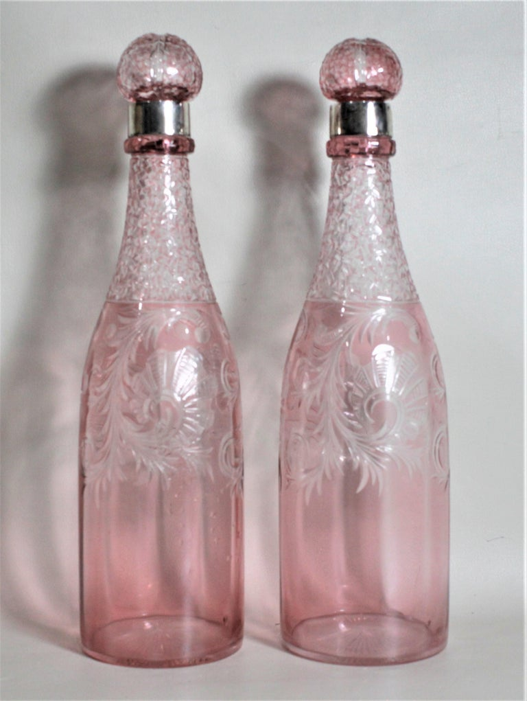 Pair of Antique Pink Cranberry Cut Glass Bottle Decanters with Sterling Rims For Sale 2