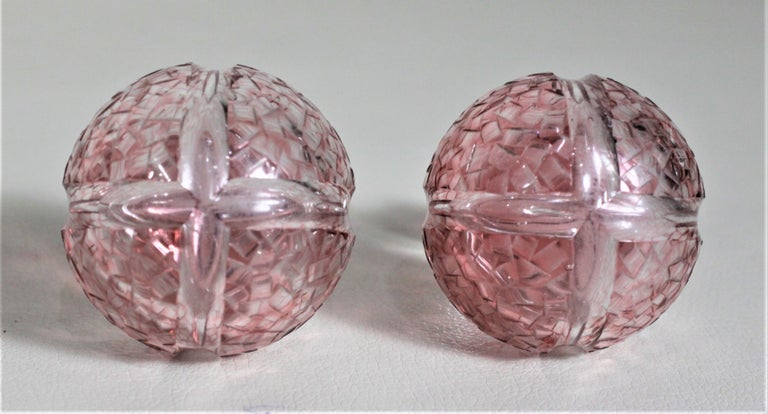 Pair of Antique Pink Cranberry Cut Glass Bottle Decanters with Sterling Rims For Sale 1