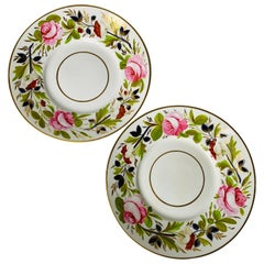Pair of Antique English Porcelain Dishes Decorated with Flowers England c-1830