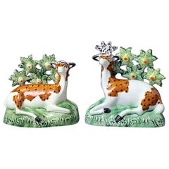 Pair of Antique English Pottery Figures of a Stag and Dow, Late 18th Century