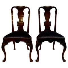 Pair of Antique English Queen Anne Burled Walnut Side Chairs, 19th Century
