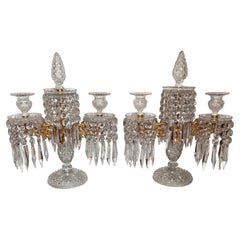 Pair of Antique English Regency Lead Crystal and Gold Bronze Candelabra, Ca 1880