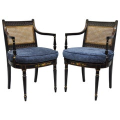 Pair of Antique English Regency Style Black Lacquer Cane Armchairs