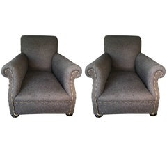 Pair of Wool English Rolled Arm Club Chairs