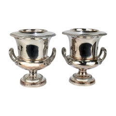 Pair of Antique English Sheffield Silverplate Wine or Champagne Coolers