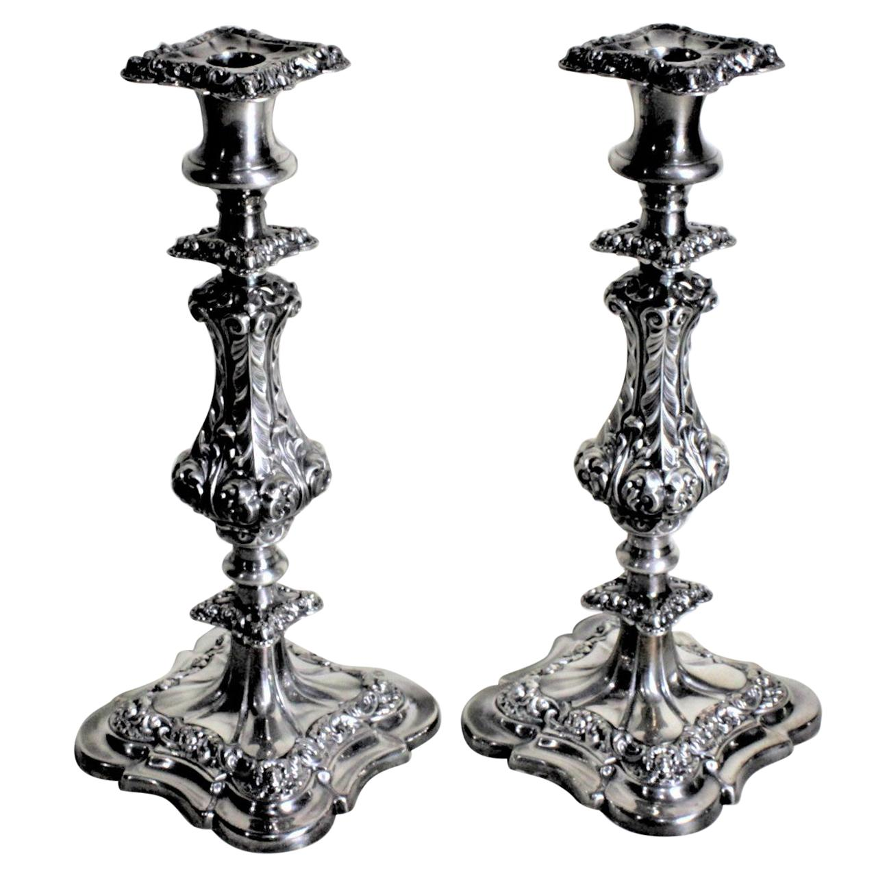 Pair of Antique English Silver Plated Candlesticks with Chased Leaf Decoration