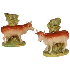Pair of Antique English Staffordshire Cow Spill Vases, circa 1840