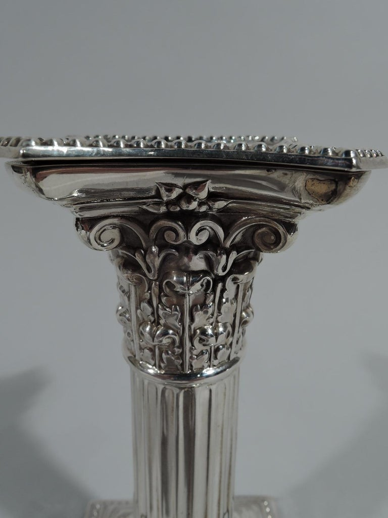 Early 20th Century Pair of Antique English Sterling Silver Classical Column Candlesticks For Sale