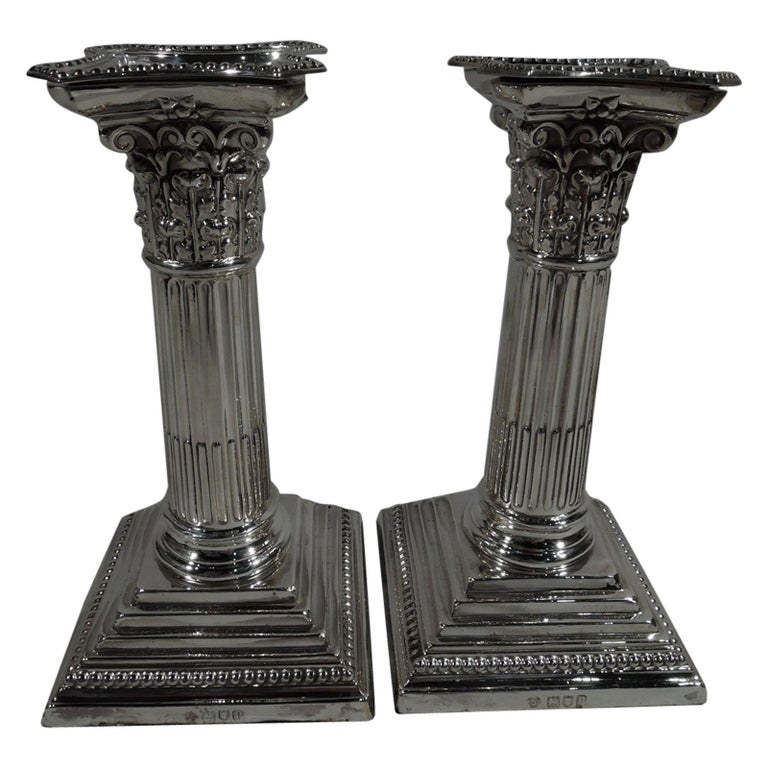 Pair of Antique English Sterling Silver Classical Column Candlesticks For Sale