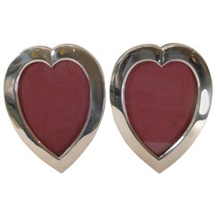 Pair of Antique English Sterling Silver Heart Picture Frames by William Comyns