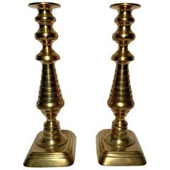 Pair of Antique English Victorian Brass Candlesticks, circa 1880