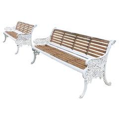Pair of Antique English Victorian Cast Iron Garden Seats/Benches