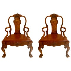 Pair of Antique English Walnut 19th Century Armchairs