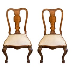 Pair of Antique English Walnut Side Chairs