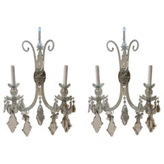 Pair of Antique English Waterford Style Crystal Wall Sconces