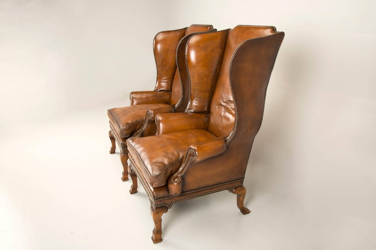 Pair Of Antique English Wingback Leather Chairs Circa