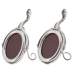 Pair of Antique Equestrian Sterling Silver Stirrup Shaped Photo Frames