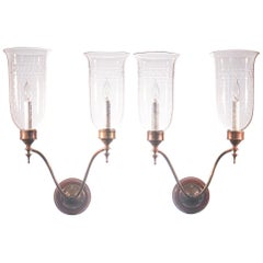 Pair of Antique Etched Hurricane Shade Double Arm Wall Sconces