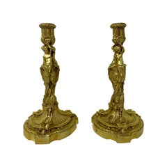 Pair of Antique Exceptional Quality French Bronze Candlesticks