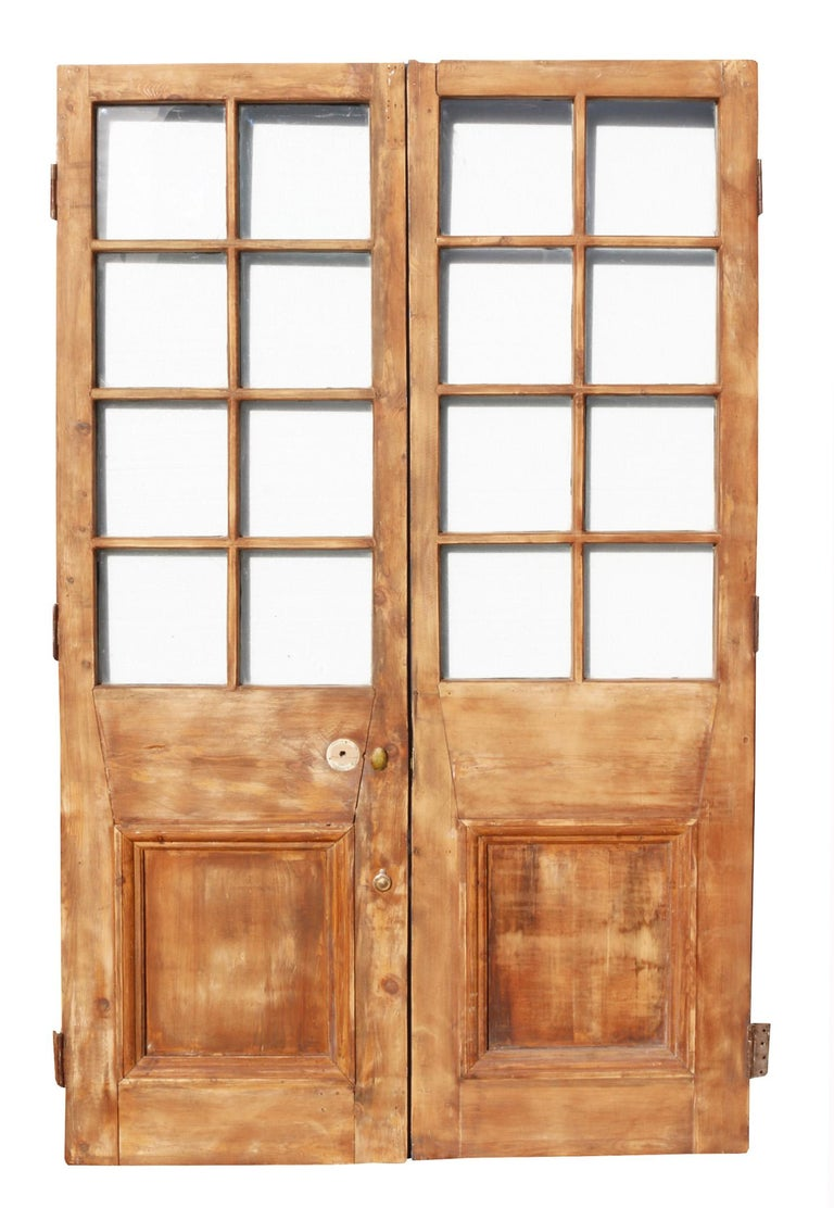 English Pair of Antique Exterior Glazed Pine Doors For Sale