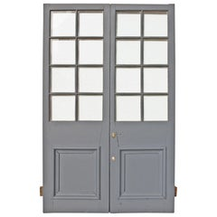 Pair of Antique Exterior Glazed Pine Doors