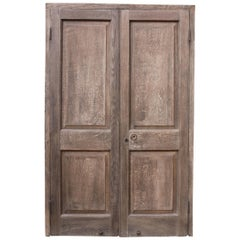 Pair of Antique Exterior Oak Double Doors with Frame