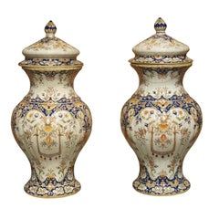 Pair of Antique Faience Lidded Urns from Desvres, France, Circa 1880