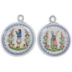 Pair of Antique Faience Medallions Quimper, circa 1900