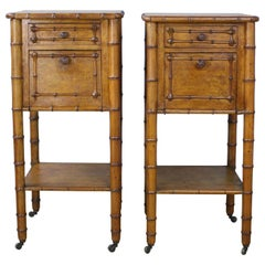 Pair of Antique Faux Bamboo Nightstands or Side Tables